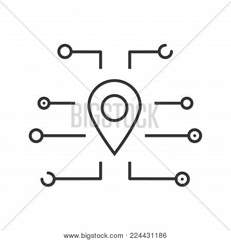 GPS navigation linear icon. Thin line illustration. Digital mapping. Map pinpoint. Contour symbol. Vector isolated outline drawing