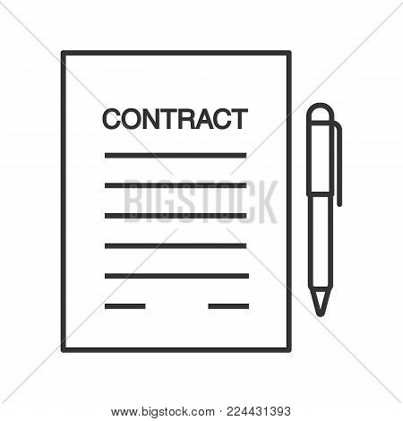 Business agreement, contract linear icon. Employment contract. Thin line illustration. Document paper with pen. Contour symbol. Vector isolated outline drawing