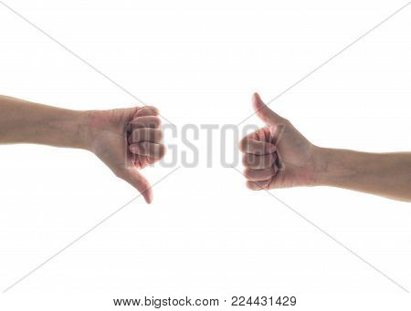 Like - Unlike Hand With Thumb Up - Down Symbolic People Gesture Isolated On White Background With Cl