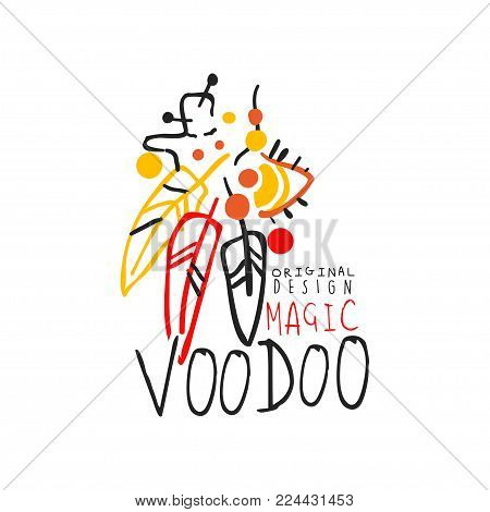 Original colorful design of Voodoo African and American magic label with feathers. Spiritual, cultural symbols for vodun shop. Culture and religion concept. Hand drawn mystical vector illustration