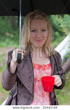 Portrait Of A Girl With An Umbrella And Tea