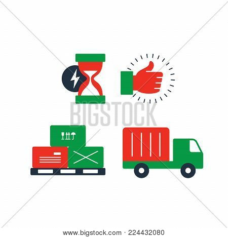 Delivery truck icon, boxes on pallet symbol, sand glass fast time sign, like and satisfaction thumb up hand, logistics concept. Flat design vector illustration