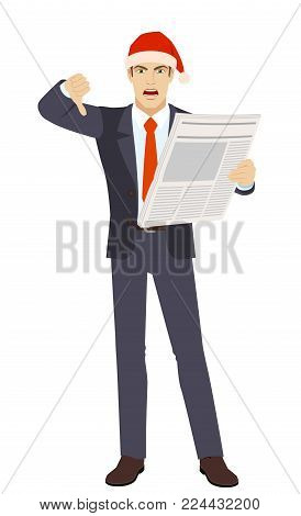 Businessman with newspaper showing thumb down. Gesture as rejection symbol down. Full length portrait of businessman character in a flat style. Vector illustration.