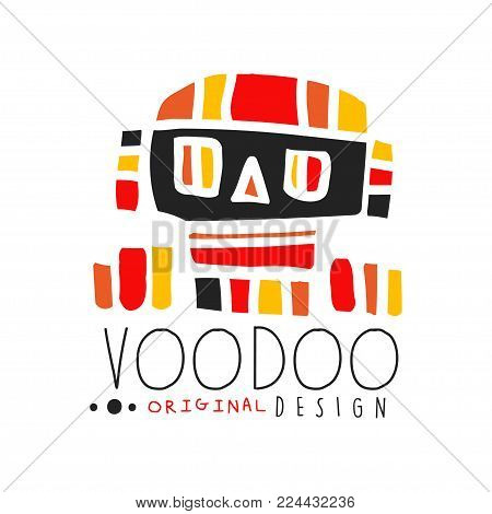 Colorful hand drawn geometric logo template for Voodoo African or American magic theme with abstract mystic skull. Traditional religion and mystical culture. Flat vector illustration isolated on white