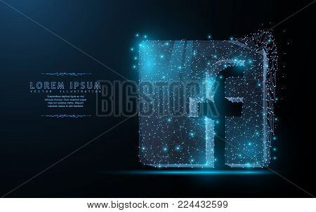 Facebook logo. Polygonal wireframe mesh art with crumbled edge on blue night sky with dots, stars and looks like constellation. Concept illustration or background
