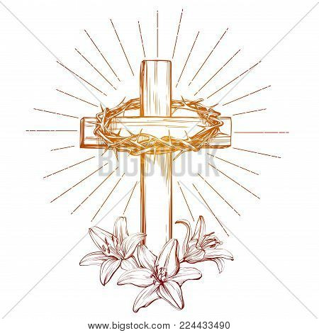 crown of thorns, wooden cross and floral blooming lilies, Easter . symbol of Christianity hand drawn vector illustration sketch.