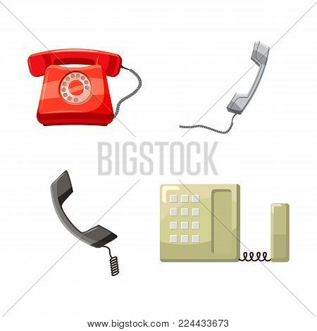 Telephone icon set. Cartoon set of telephone vector icons for web design isolated on white background