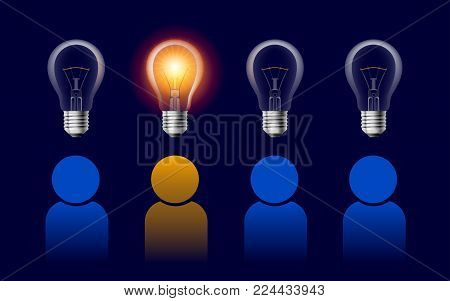 Profiles with Lamp Bulb Signs. User line icon. Person Silhouette with Idea Symbol. Report, Service and Information Line Signs on Dark Background