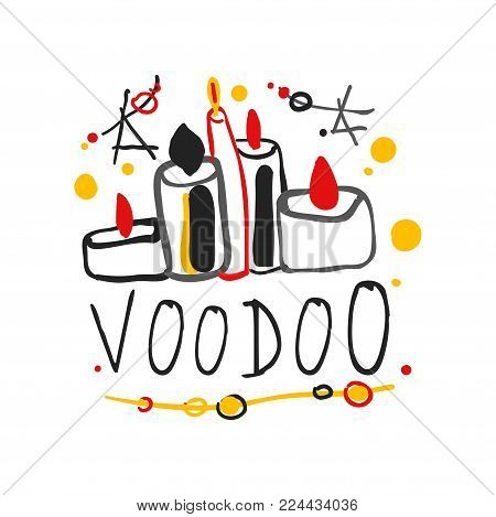Kid s style drawing Voodoo magic logo or label template design with stars and candles. Spiritual theme creative print. Culture and religion. Hand drawn mystical vector illustration isolated on white.