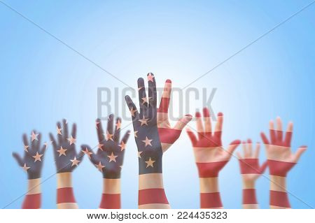 Usa American Flag Pattern On People Hand For Voting, Volunteering Participation Election, Civil Righ
