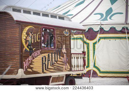 VILAFRANCA DEL PENEDES,SPAIN-APRIL 15,2017:Circus Raluy, old cart and big top circus in Vilafranca del Penedes,Catalonia,Spain.
