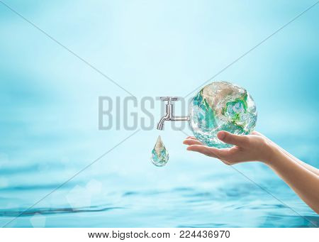 World Water Day, Saving Water Quality Campaign And Environmental Protection Concept. Element Of This