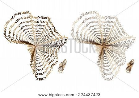 Sketch african letter text continent, African word - in the shape of the continent, Map of continent Africa - vector illustration