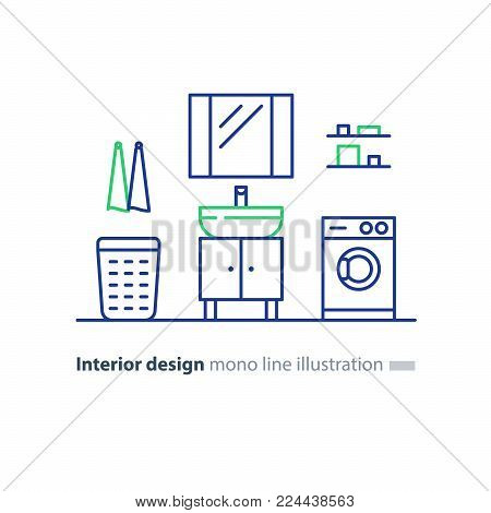 Interior design, bathroom icons, minimalism modern style, mirror with sink, basket and washing machine, vector mono line illustration