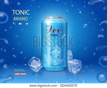 Metallic can with tonic soft drink and ice cube on blue background.