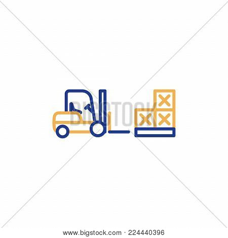 Fork lift truck loader, pallet with stacked boxes, warehouse storage services, asset relocation, vector mono line icon