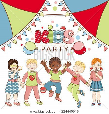 Vector flat multinational kids party poster. african black, caucasian and asian boy and girl kids icon dancing singing having fun. Isolated illustration, air balloon, confetti background.
