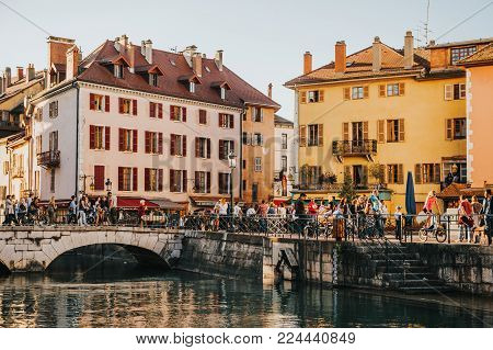 Annecy, France - April 8, 2017. Medieval old town of Annecy, Haute-Savoie, France