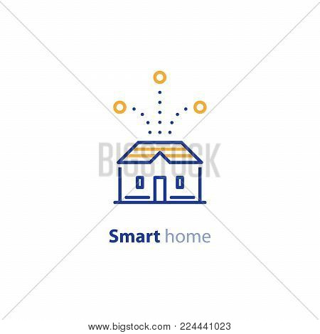Smart home systems, house control concept, improvement solution, vector line icon