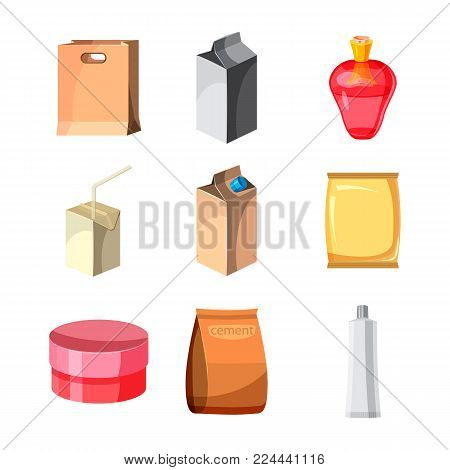 Package icon set. Cartoon set of package vector icons for web design isolated on white background