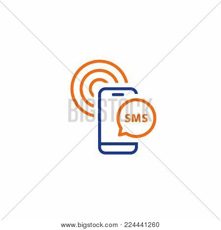 Phone message notification, receive authentication code, send sms, vector line icons