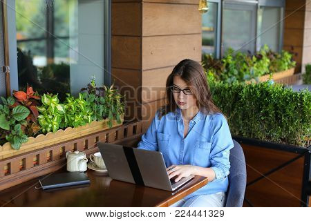 Close up face of satisfied customer browsing and enjoying social networks at restaurant  . Happy girl resting at cafe near window with room plants. Concept of using wireless local area network at catering establishment.