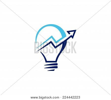 Vector Logo Design For Smart Investor Investment, Chart Inside Light Bulb, Smart Stock Exchange Idea