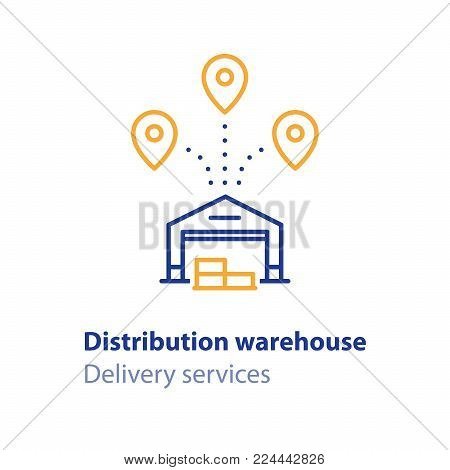 Warehouse building, storage services, distribution center, vector line icons