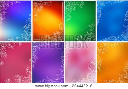 Vector Set Of Abstract Ethnic Background With Henna Patterns. Stock Illustration For Design