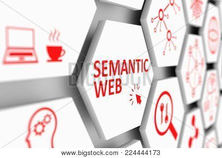 SEMANTIC WEB concept cell blurred background 3d illustration