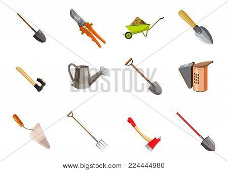 Garden tools icon set. Cartoon set of garden tools vector icons for web design isolated on white background