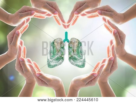 World No Tobacco Day Campaign, Lung In Heart-shaped Hand Protection Health Care Design Logo Concept.