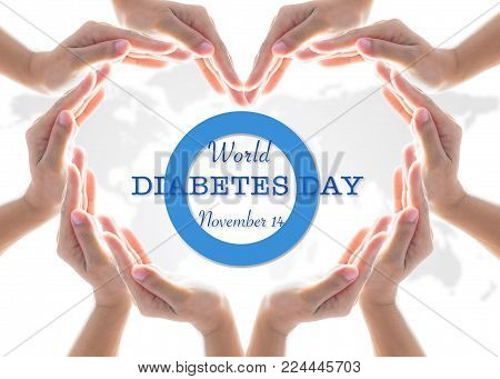 World Diabetes Day Concept With Blue Circle Symbolic Logo Among Protective Heart-shape Hands For Dia