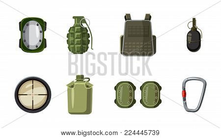 Military equipment icon set. Cartoon set of military equipment vector icons for web design isolated on white background