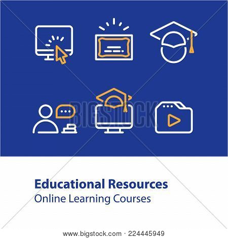 Educational resources vector line icon set, online learning courses, distant education, university degree, graduation hat, e-learning tutorials