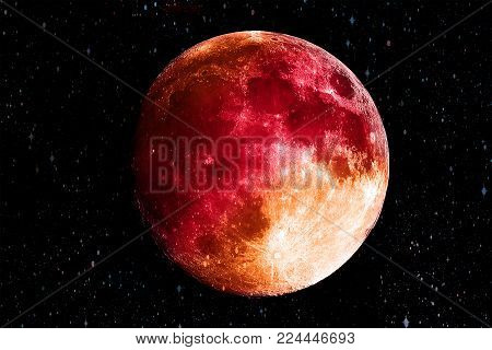 Bloody Red moon in the galaxy background. Science and Planet concept. Full moon and Horror scene theme. Elements of this image furnished by NASA