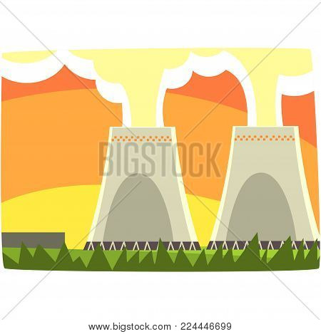 Energy generation power station, nuclear energy, horizontal vector illustration on a white background