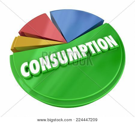 Consumption Pie Chart Consume Resources Products 3d Illustration