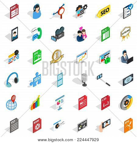 Variety of press icons set. Isometric set of 36 variety of press vector icons for web isolated on white background