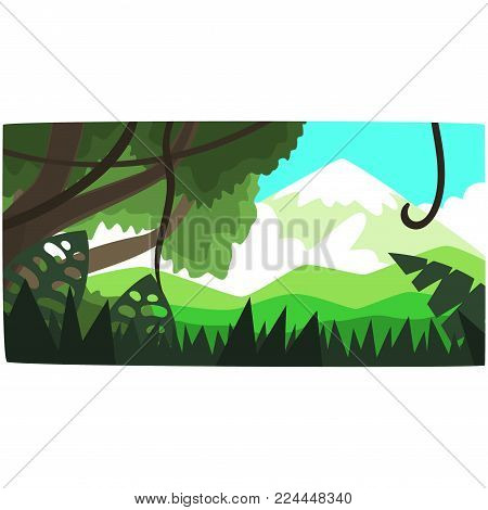 Deep tropical jungle background, tropical forest scenery in a day time vector illustration, forest backdrop