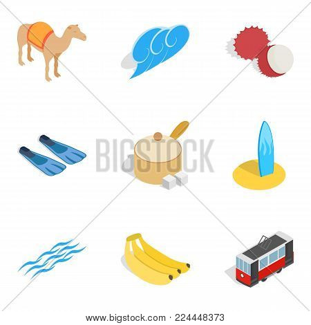 Istambul icons set. Isometric set of 9 istambul vector icons for web isolated on white background