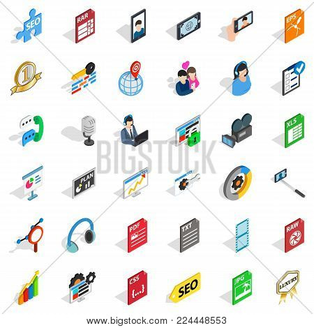 Mass press icons set. Isometric set of 36 mass press vector icons for web isolated on white background