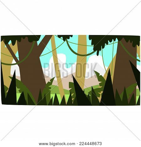 Deep tropical jungle background, tropical rainforest scenery in a day time vector illustration, forest backdrop