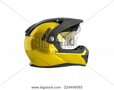 yellow motocross helmet 3d render on white background no shddow