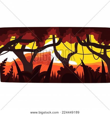 Sunset in tropical jungle, greenwood background with leaves, bushes and trees, tropical rainforest scenery at evening vector illustration, forest backdrop