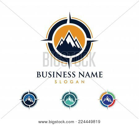 Vector Logo Design Illustration For Travel Tour Agency, Location Navigation Compass Adventure, Explo