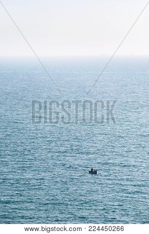 travel to France - view of boat in English channel near Cap Gris-Nez in Cote d'Opale district in Pas-de-Calais region of France in summer day
