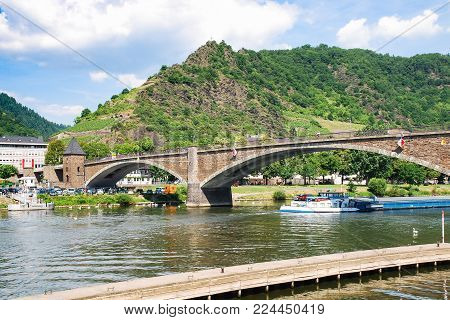 travel to Germany - view of bridge Skagerak-Brucke over Moselle river in Cochem city in summer day