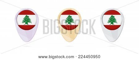 Map markers with flag of Lebanon, 3 color versions.