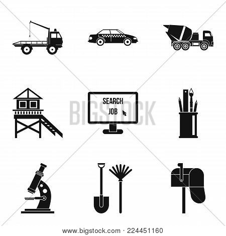 Working people icons set. Simple set of 9 working people vector icons for web isolated on white background